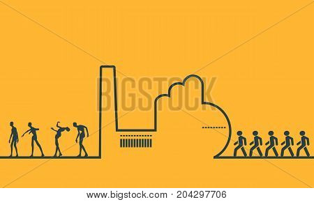 An outline of a factory on orange background. Workers going to the factory. People turn into zombies at the factory. Line art ecology concept