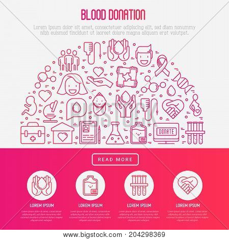 Blood donation concept in half circle with thin line icons and place for text inside. World blood donor day. Vector illustration for web page, banner, print media.