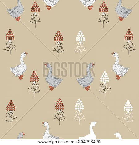 Stylized seamless pattern with geese and berries