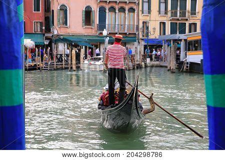 Gondola on Grand Chenel  in Venice Italy