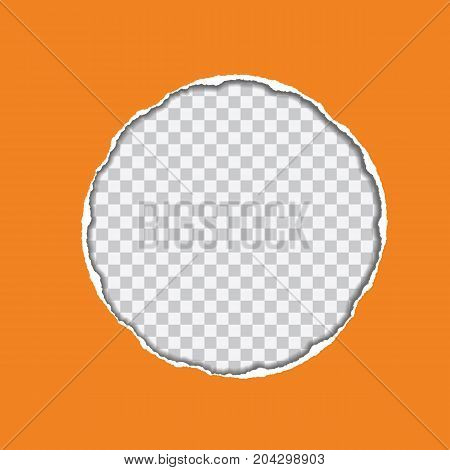 vector realistic illustration of orange torn paper with shadow and circular shaped hole on transparent background with frame for text