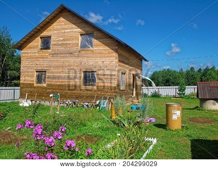 wooden house for a rural plot in the spring, Russia
