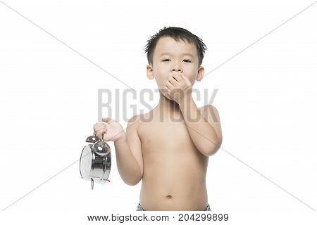 Asian Boy Child Yawn. Isolated On White.