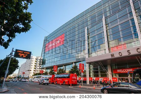 SAN FRANCISCO CA USA - SEPT 30 2012: Attendees of Oracle Open World conference go to Moscone Center West on Sept 30 2012 in San Francisco CA USA.
