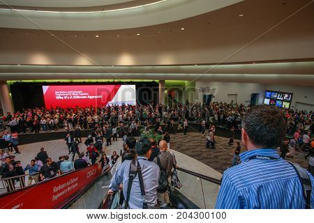 SAN FRANCISCO CA USA - SEPT 30 2012 - Main entrance to Oracle OpenWorld conference in Moscone convention center on Sept 30 2012 in San Francisco CA. More than 50 thousands attendees visited this forum