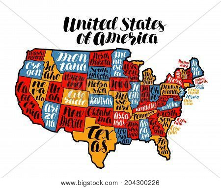 USA map country, United States of America. Lettering vector illustration isolated on white background