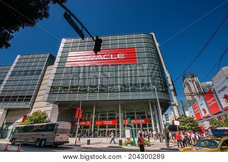 SAN FRANCISCO CA USA - OCT 2 2012: Attendees of Oracle Open World conference go to Moscone Center West on Oct 2 2012 in San Francisco CA USA.