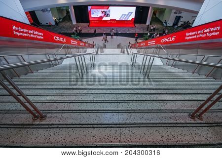 SAN FRANCISCO CA USA - OCT 2 2012 - Main entrance to Oracle OpenWorld conference in Moscone convention center on Oct 2 2012 in San Francisco CA. More than 50 thousands attendees visited this forum