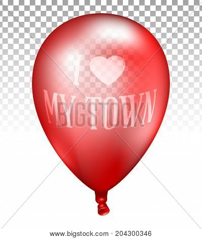 3D Realistic Red Transparent Balloon. Vector Illustration Of Photorealistic Flying Helium Balloon, I