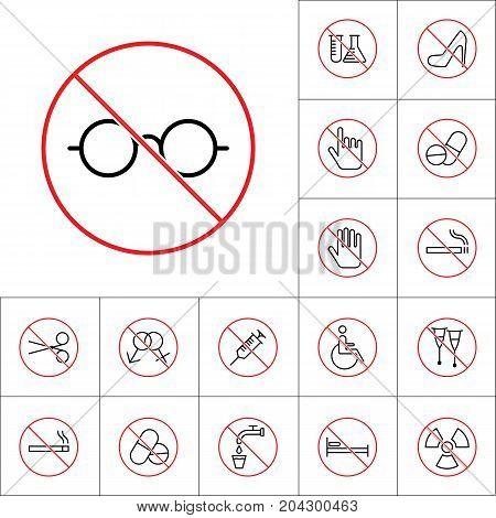 Thin Line No Glasses Sign, Health Care Icons Set