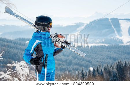 Young Female Skier With Skiing Equipment Enjoying At Winter Ski Resort In Beautiful Sunny Day Copysp