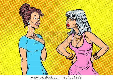 Two women, tough and quiet. Emotions and girlfriends. Pop art retro vector illustration