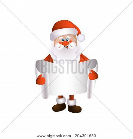 vector cartoon Santa Claus in red white clothing and hat keeping blank white paper with free space for a text. Illustration isolated on a white background. Christmas , new year poster design