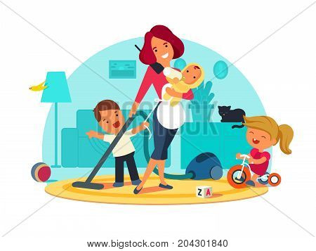 Busy mother feeds child, cleans room and speaks by phone. Vector illustration