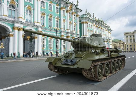 Tank T-34 On The Palace Square In St. Petersburg On 11 August 2017.