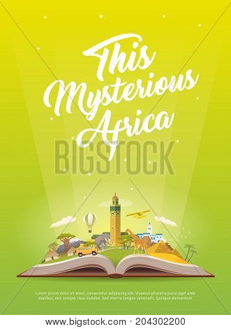 Travel to Africa. Road trip. Tourism. Open book with landmarks. Africa Travel Guide. Advertising web illustration. Summer vacation. Travelling vertical banner. Modern flat design. EPS 10. 3