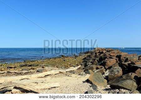 Rocks on the beach at Montauk Point, Long Island, New York
