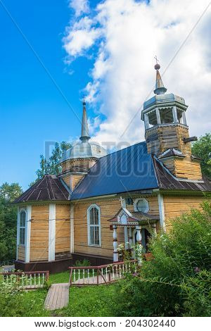 The village of Marcial waters Karelia Russia - August 8 2017: The Wooden Church of the Apostle Peter 8 August 2017 in the village of Marcial waters Karelia Russia.