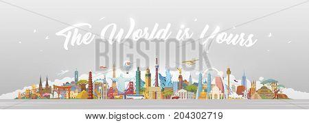 Travel to World. Road trip. Big set of famous landmarks of the world. Concept website template. Vector illustration. Web banner. Modern flat design.