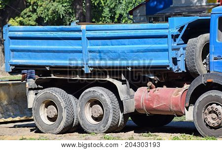 Part of a truck at the road construction
