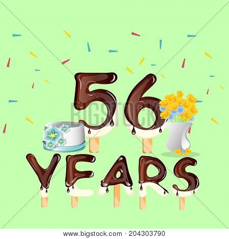 Happy Birthday fifty six 56 year. Vector illustration