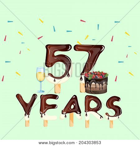 Happy Birthday fifty seven 57 year. Vector illustration