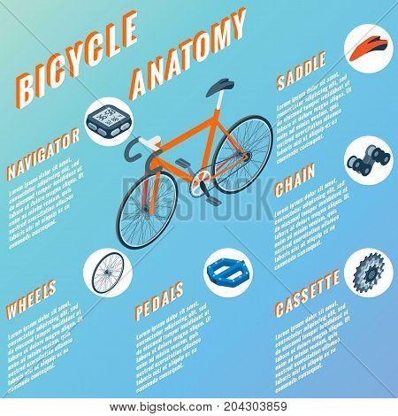 Bicycle anatomy concept infographic. Vector set of bicycle parts isolated isometric icons. Bicycle objects and design elements. Bike repair gears.