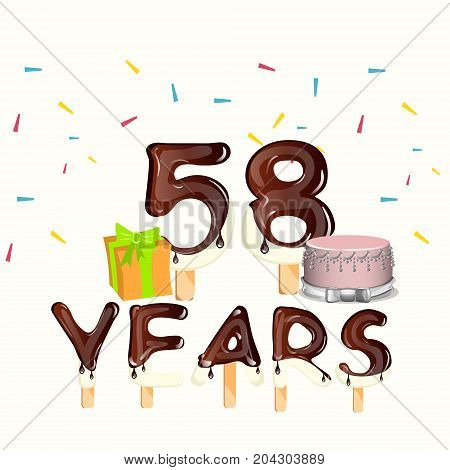 Happy Birthday fifty eight 58 year. Vector illustration
