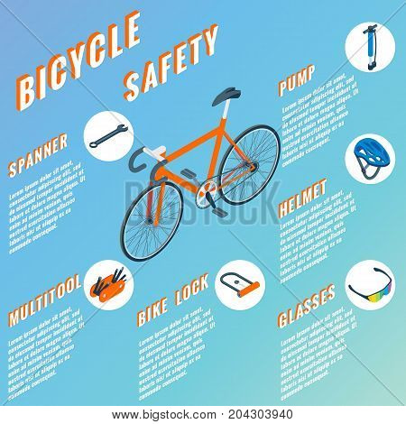 Bicycle Safety concept infographic. Vector set of bicycle parts isolated isometric icons. Bicycle objects and design elements. Bike repair gears.