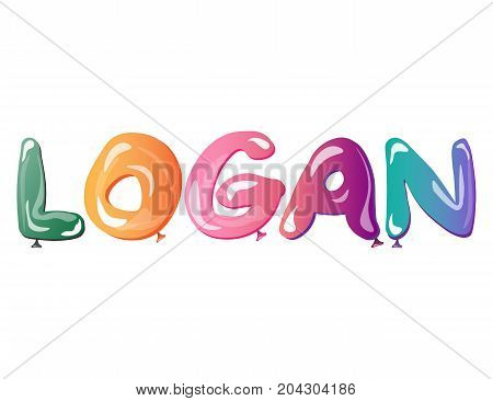 Male name Logan text balloons. Vector illustration