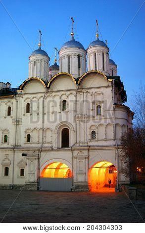 Twelve apostles church of Moscow Kremlin. Color photo. Blue sky background.