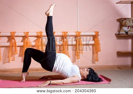 Pregnancy Yoga And Fitness Concept. Healthy Maternity Lifestyle Concept. 40 Week Pregnant Middle Age