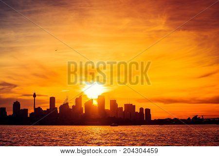 Sydney city skyline silhouette at sunset NSW Australia