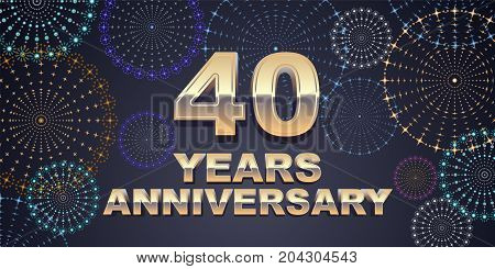 40 years anniversary vector icon logo. Graphic design element with golden 3D numbers for 40th anniversary decoration