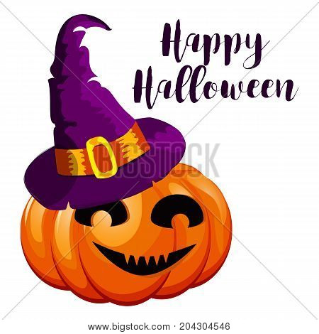 Cartoon halloween pumpkin wearing witch hat isolated. Spooky halloween celebration night scary fear witch october. Traditional evil party card.