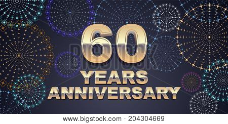 60 years anniversary vector icon logo. Graphic design element with golden 3D numbers for 60th anniversary decoration