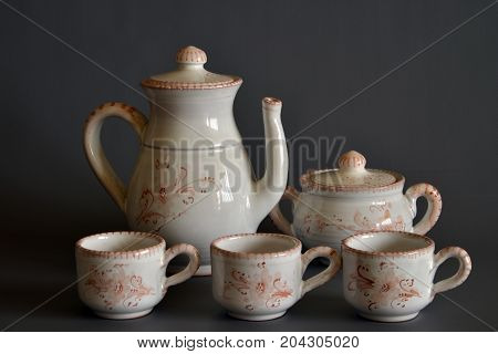 group of decorated ceramic objects, still life