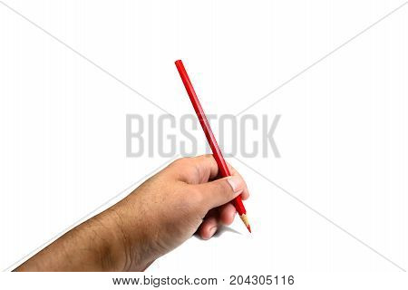 A Hand Holding  Color Pencil On White Background Isolated