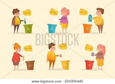 Separate sorting garbage. Vector. Cartoon. Isolated art on white background. Flat Character