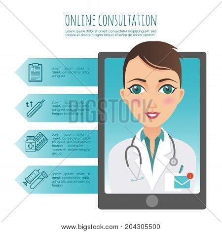 Vector infographic. Online healthcare diagnosis and medical consultant. Vector infographic. Web or mobile application. Female doctor. Illustration for your design