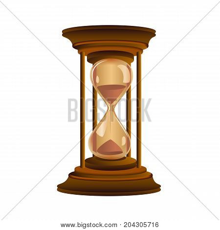 Vector illustration of classic wood hourglass with sand.
