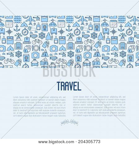 Travel and vacation concept with thin line icons: plane, tickets, hotel, sights and place for text. Vector illustration for banner, web page, print media.