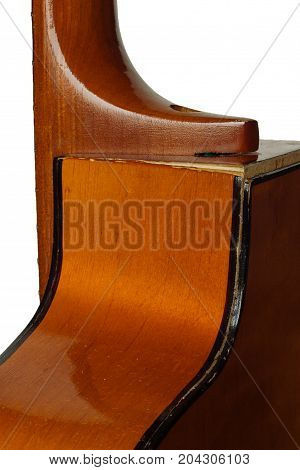 Old broken Grand Auditorium guitar with back side body broke at the seams isolated on white background