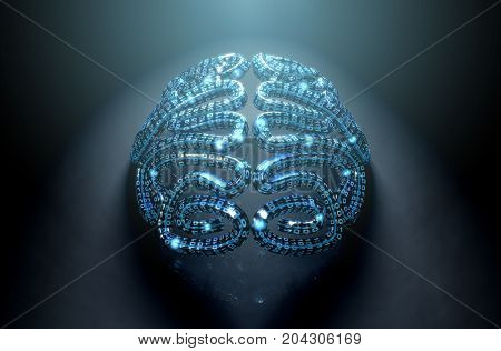 Stylized Artificial Intelligence Brain