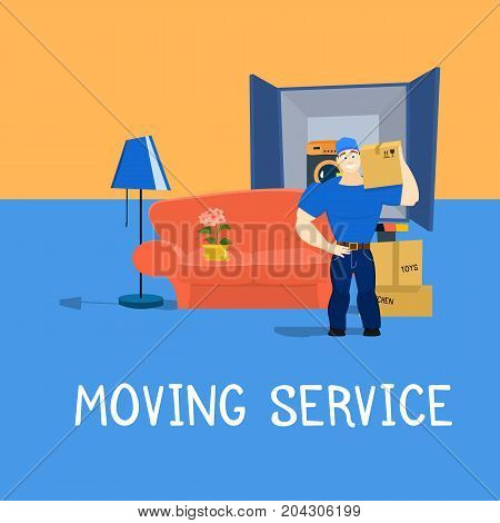 Moving service guy with furniture and moving truck vector illustration EPS10