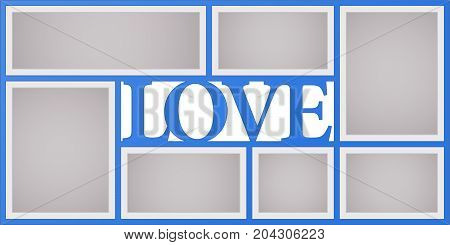 Collage of photo frames vector illustration background. Sign love and design element with blank photo frames with borders