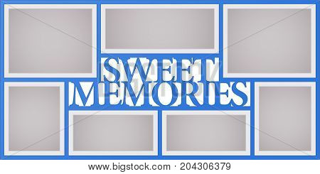 Collage of photo frames vector illustration background. Sign sweet memories and design element with blank photo frames with borders