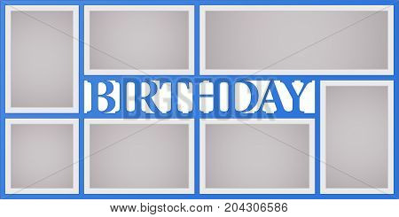 Collage of photo frames vector illustration background. Sign birthday and design element with blank photo frames with borders
