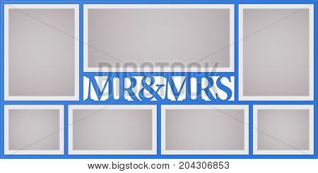 Collage of photo frames vector illustration background. Sign mr and mrs and design element with blank photo frames with borders