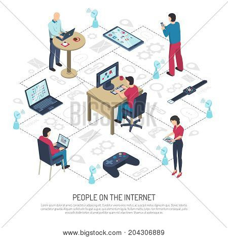 People with electronic devices on internet, satellite dishes with wifi on white background isometric vector illustration